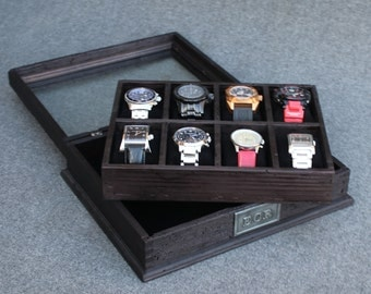 Ash Black Personalized Rustic Men's Watch Box for 8 watches with glass top