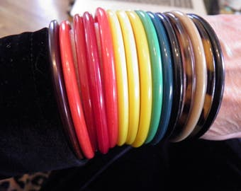 14 Multi Colored Lucite Bangle Bracelets