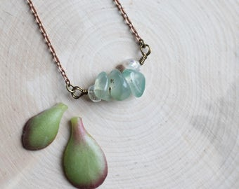 """Petite Moss Agate and Angel Aura Bead Choker on a 16"""" Antiqued Copper Colored Chain"""