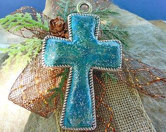 Blue Cross, Cross Pendant, Cross Jewelry, Cross Charm, Unique Cross,, Cross Gift, Religious Pendant, Handmade Pendant, Handmade Jewelry
