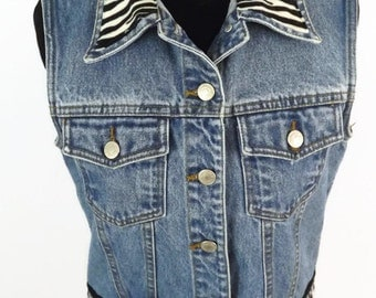 Early 90s Baccini Jean Denim and Zebra No Sleeve Sleeveless Vest Glam Rocker Heavy Metal Biker