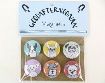 Dog magnet pack, variety pack of small dogs, refrigerator magnet button set