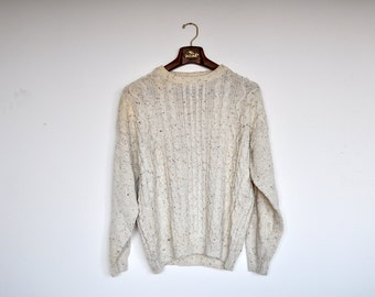 Vintage Cream Speckled Mens Fisherman Knit Braid Sweater