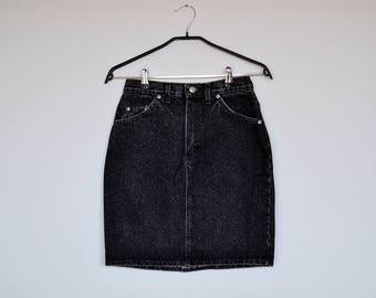 Vintage Rifle High Waisted Black Stone Wash Denim Mini Pencil Skirt