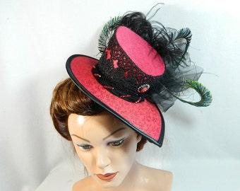 Minihat red top hat Fascinator Derby Funeral Bridal formal church hat Gatsby voilette Bibi Chapeau Capelli Gothic Steampunk Lolita Burlesque