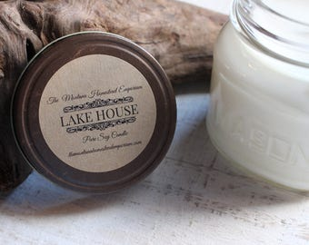 The LAKE HOUSE ™  all natural pure soy candle Mason jar candles hand poured fresh Mountain Lake breeze lake cabin decor Montana made candles