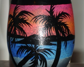1 hand painted tropical scenic beverage glass