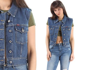 Denim Vest  Crop Top 90s Mustang Jean Shirt Sleeveless Jean Jacket Washed Blue Biker Top 1990s Grunge Vintage Hipster Button Up Medium
