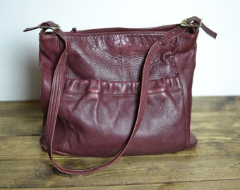 Vintage Plum Berry Simple Leather Shoulder Bag