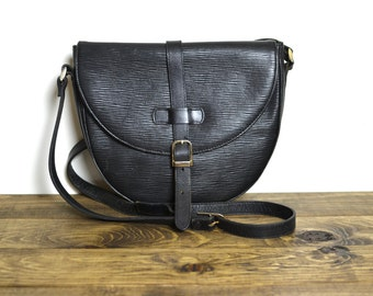 Vintage EPI Leather Saddle Bag - Black Saffiano Buckle Crossbody Purse