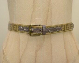 Fendi Vintage Belt - Monogram Zucca Logo Print Skinny Belt - S 24 25 26