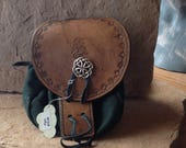 Handmade Leather Sporran Bag with Outer Celtic Knot Closure, Genuine Cowhide, Brown Kilt Bag with Hunter Green Pouch for Your Highlander