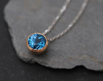 Recycled 18K Rose Gold Necklace with Blue Topaz - Blue Topaz Pendant in 18K Gold - Swiss Blue Topaz Gold Necklace - Blue Gemstone Necklace