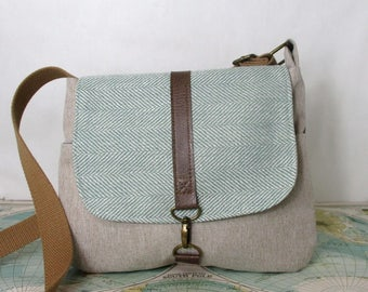Utah -- Crossbody messenger bag //  Adjustable strap // Vegan purse // Cross body // Travel purse // Mint herringbone // Ready to ship