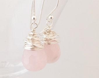 Rose Quartz Earrings - Wire Wrapped Earrings - Quartz Silver Earrings - Pink Gemstone Earrings - Pink Silver Earrings