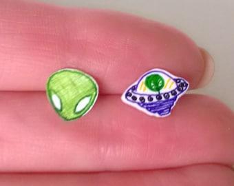 Alien and UFO Mismatched Earrings Ooak Jewelry Studs Girl Teen Cute Sci Fi Space