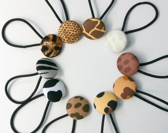 Animal Skin Print Button Hair Elastics - Mixed Collection of 10 - Ideal Gift - 23mm - Pony Tail Holder