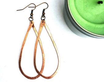 Copper Hoops. Hammered