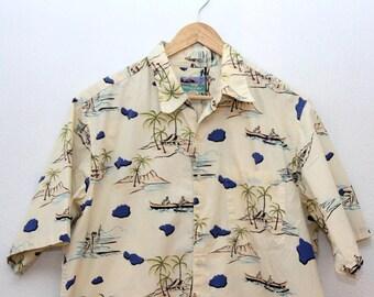 Vintage Mens Hawaiian Shirt Reyn Spooner Cream 100% Cotton Large 1990s