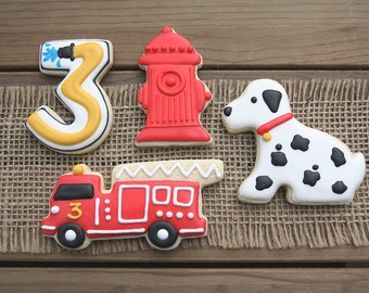 Fire Truck Favors // Fire Truck Birthday Party // Fire Truck Sugar Cookies