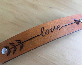 Leather Barrette Arrow and Love Leather Barrette in Your Choice of Colors 4-1/4 inch - Love That Leather
