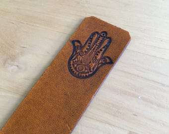 Hamsa Hand Leather Bookmark Good Luck and Protection Bookmark