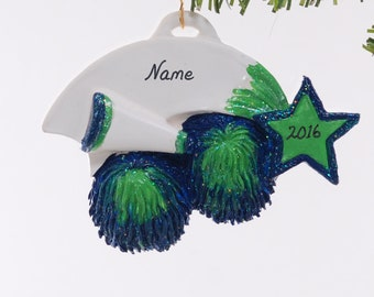 Cheer Leader ornament - Christmas ornament personalized free - Blue and Teal cheer ornament - remember that special year cheering (321)