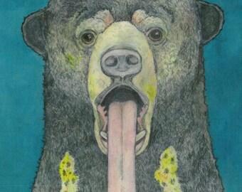 Unframed Blue Sun Bear -- reproduction print