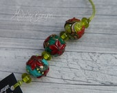 Red and Green Flowers, rounds Lampwork bead mini set (3 + 4 spacers, 7 beads) SRA