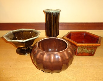 4 Vintage Brown Glazed Ceramic Pottery Pieces in Mint Condition with California Garden Ware, Haeger, Hull and USA Stamps on bottoms