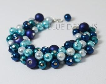 Blue Pearl Bracelet, Blue & Teal Cluster Bracelet, Shades of Blue Bracelet, Aqua Bridesmaid Bracelet, Turquoise Bracelet, Teal/Blue Jewelry