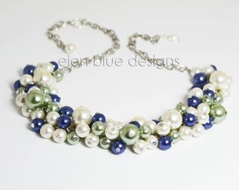 Royal Blue and Sage Pearl Necklace, Ivory and Royal Cluster Necklace, Ivory, Blue and Green Chunky Necklace, Ivory Pearl Cluster Necklace