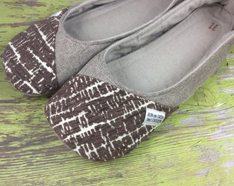 Brown Canvas Womens Flats. Handcrafted Shoes, Size 11