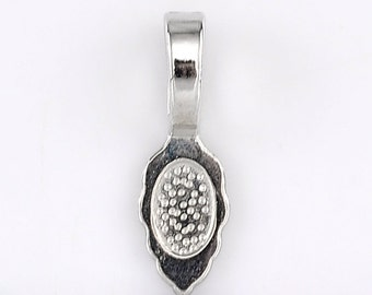 10 Bail Beads - Antique Silver Tags - Glue on Bails - 26x8mm  - Ships IMMEDIATELY from California - B1243