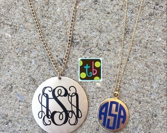 Personalized Monogrammed Long Length Gold Golden Threads Disc Necklace
