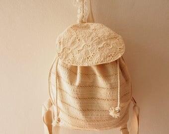 Lace Backpack Lace Bag Vintage Style Women Bag Cotton Bag