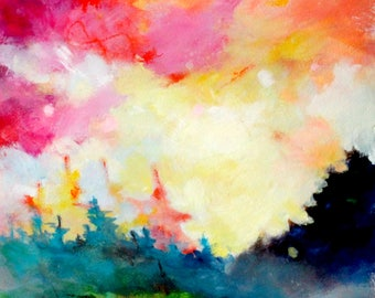 "Abstract Landscape Skyscape Painting, Sunset, Works on Paper, ""Sunset and Trees"" 12x12"""