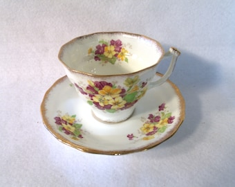 Vintage Teacup and Saucer, Old Royal Bone China, Yellow and Purple Violets