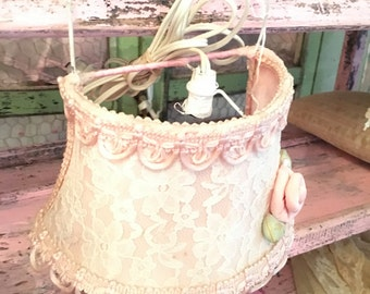 Light fixture lace pink shabby pink pink prairie cottage chic shabbychic