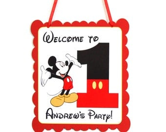Mickey 1st Birthday Party Door Hanger Personalized with Name, Mickey Mouse Birthday Party Door Hanger Sign says Welcome