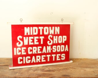 General Store Sign Vintage Advertising Large Red and White Painted Wooden Sign Ice Cream