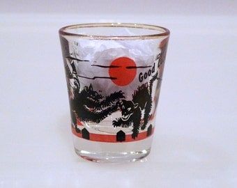 Good Luck Shot Glass Vintage Black Cat Drinking Glass 60s Cocktail Alley Cat Cat Fight Throwing Shoe Barware Shut Up Be Quiet