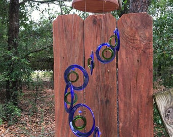 blue, green, GLASS WINDCHIMES-RECYCLED bottles, wind chime, garden decor, wind chimes, musical, home decor, mobile