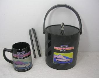 Vintage Heaven 57 Car Glass Mug & Plastic Ice Bucket With Tongs Enesco 1986