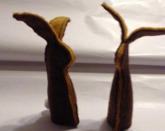 Chocolate covered caramel bunny finger puppets
