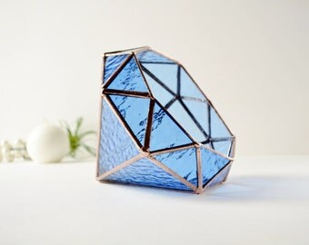 Blue Glass Diamond Terrarium, Stained Glass Planter, Geometric Terrarium, Diamond Shape Planter for Indoor Gardening, Wedding Gift
