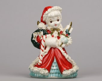 Large Christmas Angel, Napco Angel for your Kitschmas Decor, Mended Wing, Spaghetti Trim, Pony Tail Angel made in Japan