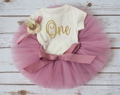 Rose gold birthday 'Rosy' rose pink and gold first birthday outfit girl vintage first birthday tutu set crown headband first birthday tutu