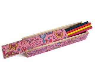 Pink Princess Pencil Box - Decoupage Wooden Pencil Box - Desktop Pencil Box - Girl's School Pencil Box