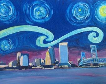 Starry Night in Jacksonville - Van Gogh Inspirations with Florida Skyline & Bridge - Limited Edition Fine Art Print/Original Canvas Painting